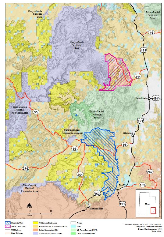 Map of Bears Ears boundary as modified by Trump